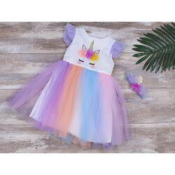 """Rochie """"Unicornul somnoros"""", fusta tull multicolor, clips inclus"""