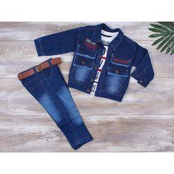 "Set 3 piese ""Explore"", geaca blug subtire, bluza alba maneca lunga si jeans albastru"
