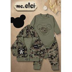 """Set 3 piese """" Military Mickey"""", body maneca lunga, bluza descheiata si pantaloni camuflaj"""