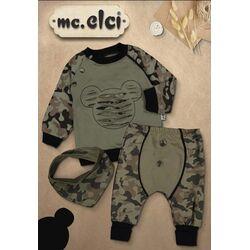 "Set 3 piese "" Military Mickey"", bluza maneca lunga, pantaloni si esarfa triunghiulara"