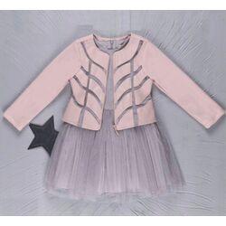 """Set 2 piese """"Sparkle"""", geaca roz pal din piele ecologica, rochie gri fara maneci , tull cu sclipici"""