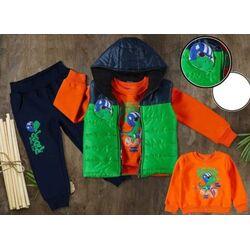 "Set thermo 3 piese ""Dino calatorul"", vesta verde, bluza maneca lunga si pantaloni bleumarin vatuiti"