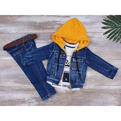 "Set blug 3 piese ""Urban"", geaca cu gluga galbena, bluza alba maneca lunga si jeans"