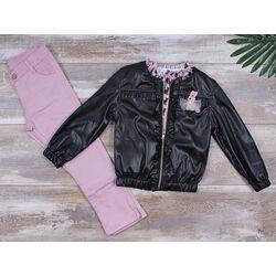 "Set 3 piese ""Leather girl"", geaca piele ecologica, bluza si pantalozi roz pudra"
