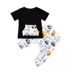 Set Fox 2 piese tricou negru si pantalon alb