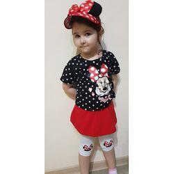 """Set  vara 2 piese """"Minnie"""", tricou + fusta cu leggings"""
