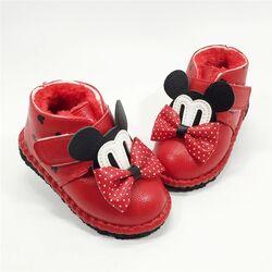 Ghete rosii iarna, imblanite, model Minnie
