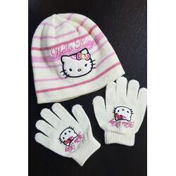 "Set alb cu roz "" Hello Kitty"", caciula + manusi"