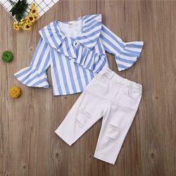 Set 2 piese pantaloni albi , bluzita dungi bleu