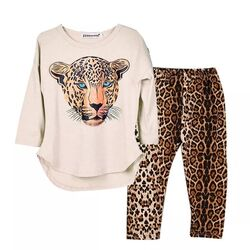 """Set 2 piese """"Golden tiger"""", bluza maneca lunga, leggings animal print"""