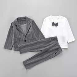 Set elegant 3 piese sacou gri , bluza cu papion, pantalon gri in dungi