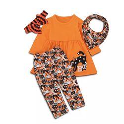 Set 4 piese Halloween bluza portocalie tip rochita, pantaloni pisica neagra, esarfa + bentita