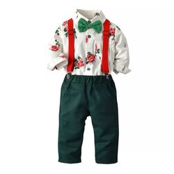 Set elegant 2 piese, camasa flori cu papion, pantalon verde inchis cu bretele