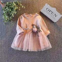 Rochie eleganta, roz din tull cu trandafir, maneca lunga