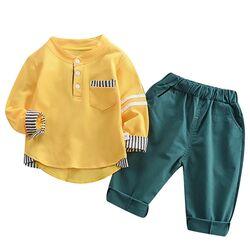 Set 2 piese , bluza galbena tip tunica maneca lunga , pantaloni verzi