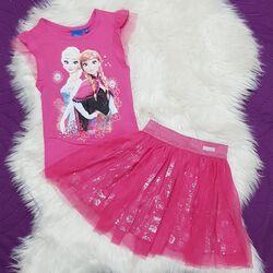 "Set 2 piese ""Elsa"" , tricou si fusta tull cu flori argintii"