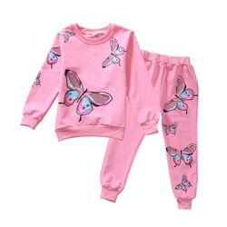 "Trening roz ""Fluturi"" , bluza maneca lunga , pantalon cu buzunar la spate"