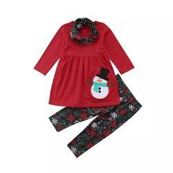 "Set Craciun 3 piese ""Omul de zapada"",  bluza rosie tip rochita, leggings negri cu stelute"
