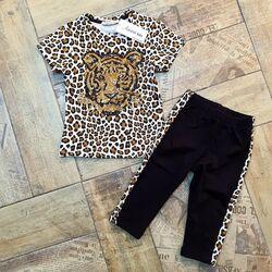 Set vara 2 piese animal print , tricou cu model tigru din paiete si leggings negru