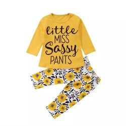 "Set ""Sassy"" bluza galbena maneca lunga,  pantaloni inflorati"