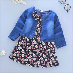 Set 2 piese, rochie bleumarin, fara maneci, model floral, geaca blug
