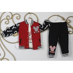 """Set 3 piese """"Soricelul cool"""" ,  bluza rosie descheiata, maleta alba, pantaloni negri"""
