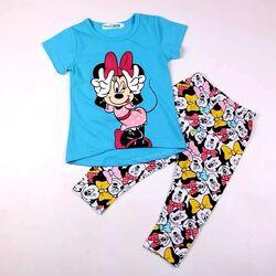 """Set 2 piese """"Minnie"""", tricou albastru, leggings 3/4"""