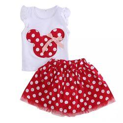 """Set """"Minnie"""" 2 piese , tricou alb , fusta rosie cu buline"""