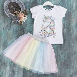 "Set 2 piese ""Unicornul magic"", tricou alb, fusta tull multicolor"