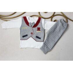 "Set 2 piese ""Micul gentleman"", bluza alba cu papion si imitatie vesta, pantaloni gri"