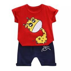 "Set vara 2 piese "" Girafa curioasa"", tricou rosu, pantalon bleumarin"