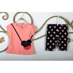 "Set vara 2 piese , tricou frez model "" Minnie bag"", leggings 1/2 cu buline"