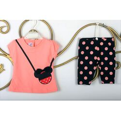 "Set vara 2 piese , tricou frez model "" Minnie bag"", leggings 1/2 cu buline"