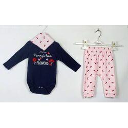 "Set 3 piese ""Flori pentru mama"", body bleumarin maneca lunga, pantaloni roz si esarfa triunghiulara"