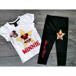"Set vara 2 piese "" Minnie star"",  tricou alb, leggings negru"