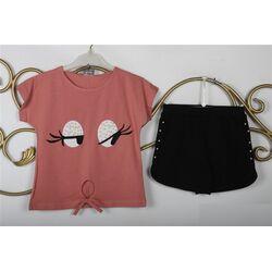 Set vara 2 piese, tricou roz plamaniu, pantalon scurt negru