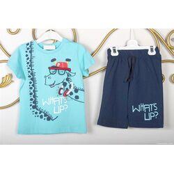 "Set vara ""Girafa muzicanta"", tricou bleu, pantaloni scurti bleumarin"