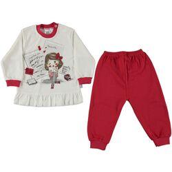 Set 2 piese , bluza alba cu volanas, pantaloni rosii
