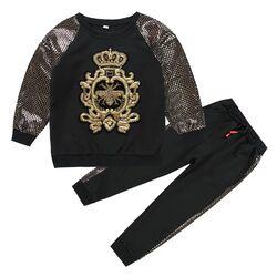 "Trening 2 piese "" Royal bee"" , bluza si pantaloni negri cu insertii aurii"