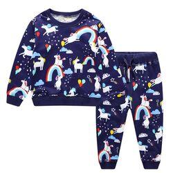 "Trening 2 piese "" Magia unicornului"", bluza si pantaloni bleumarin"