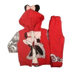 """Set 3 piese """" Minnie glam"""", bluza alba maneca lunga, pantaloni si hanorac rosu maneci transparente cu paiete"""