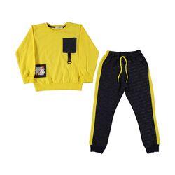 Trening 2 piese , bluza galbena, pantaloni gri inchis