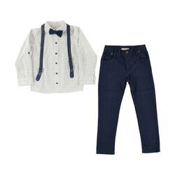 Set 2 piese, camasa alba model floricele cu papion, pantaloni albastri cu bretele detasabile