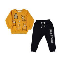 "Trening thermo ""Familia de ursi"", bluza portocalie, pantaloni negri"