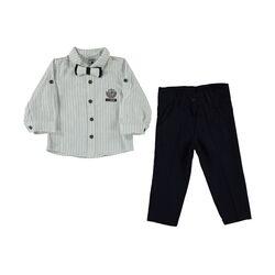 Set 2 piese, camasa dungulite verticale, pantaloni bleumarin