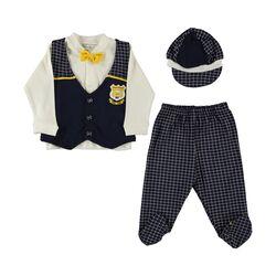 "Set 4 piese ""Papionul galben"",bluza alba, vesta, pantaloni cu picior si bereta in carouri"