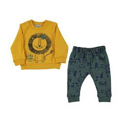 "Trening 2 piese ""Micul rege"", bluza galbena, pantaloni verzi"