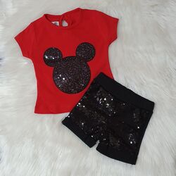 """Set vara 2 piese """" Minnie glam"""", tricou rosu, pantaloni negri cu paiete"""
