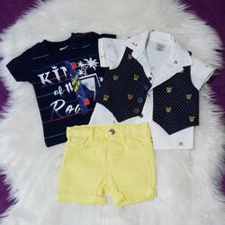 Set vara 4 piese , camasa alba, vesta, tricou bleumarin si pantaloni galbeni
