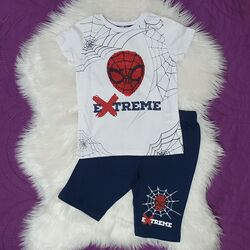 "Set vara 2 piese "" Spider extreme"", tricou alb cu paiete reversibile, pantaloni scurti bleumarin"